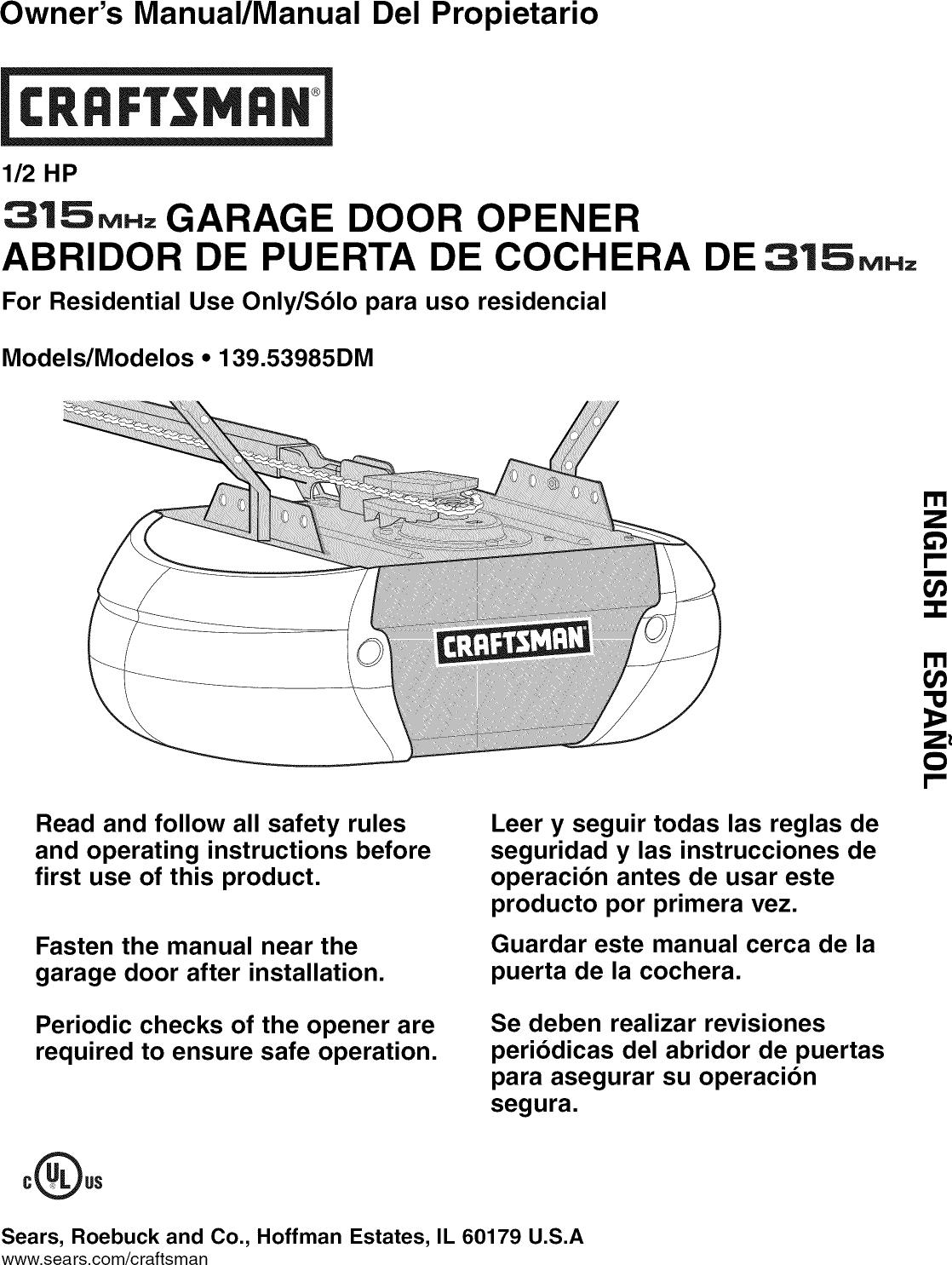 Craftsman 13953985dm User Manual Garage Door Opener Manuals And
