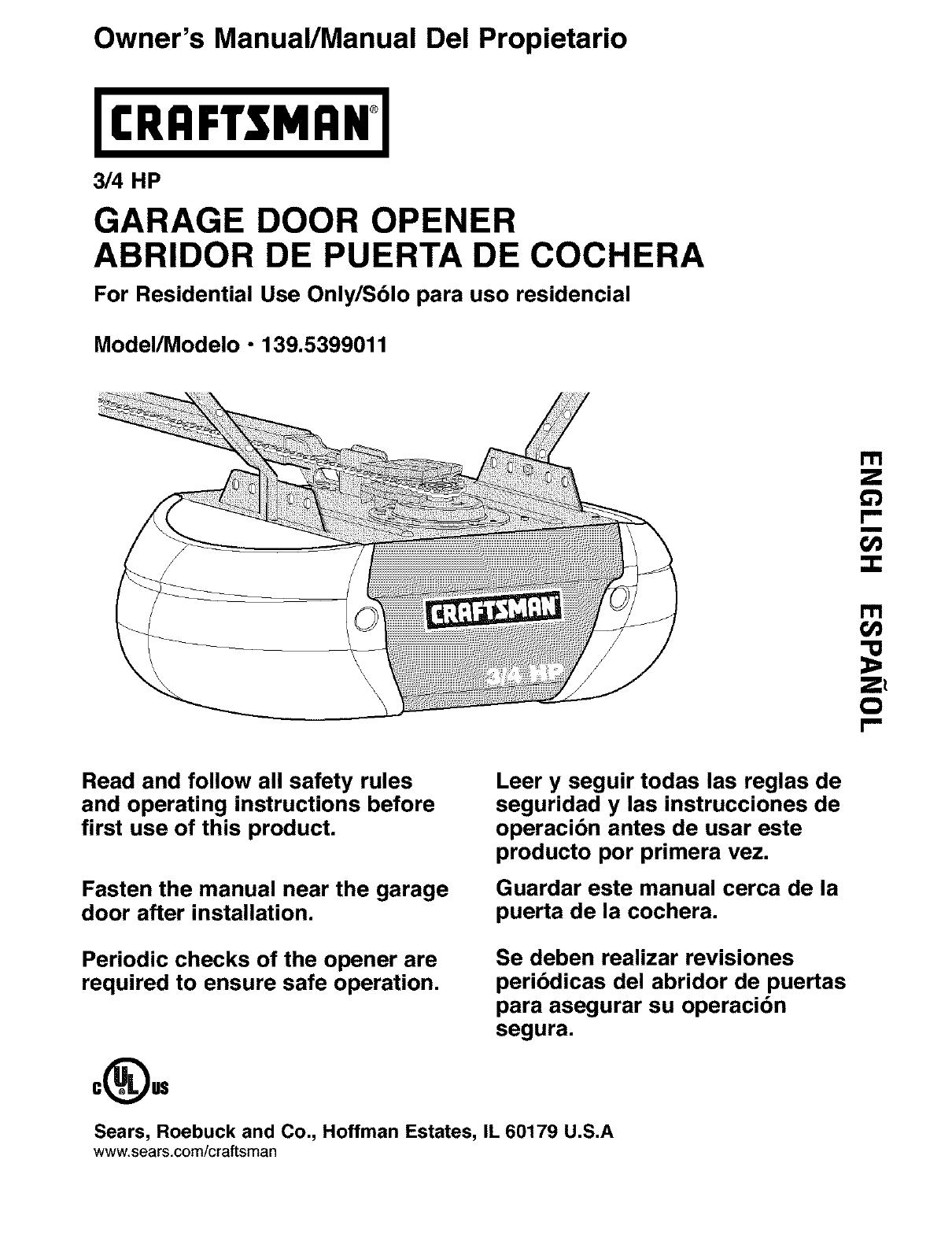 Craftsman 1395399011 User Manual Garage Door Opener Manuals And Guides L0403214