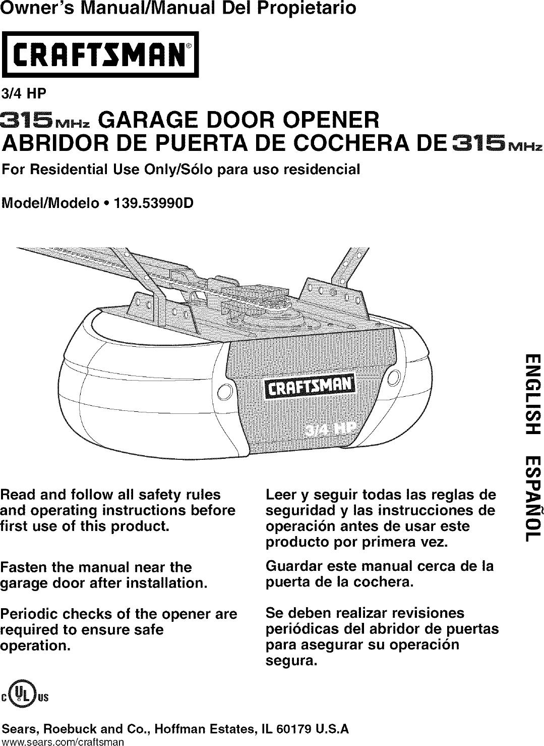 Craftsman 13953990d User Manual Garage Door Opener Manuals And Guides L0610432