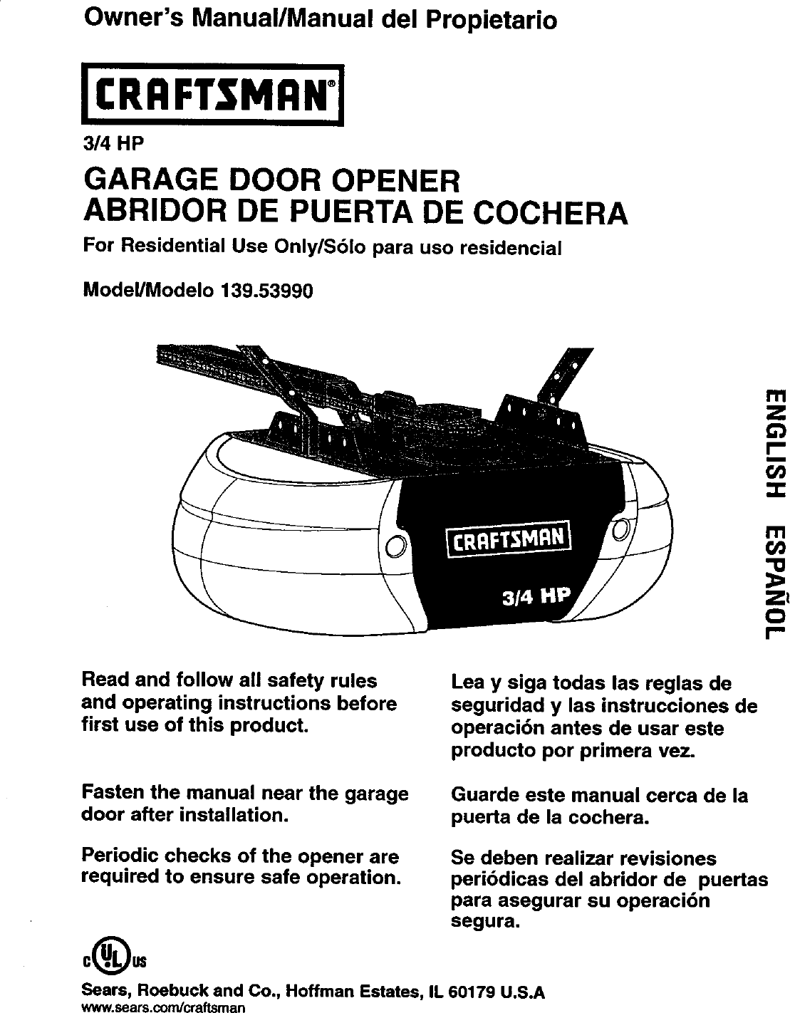 Craftsman 13953990srt User Manual Garage Door Opener