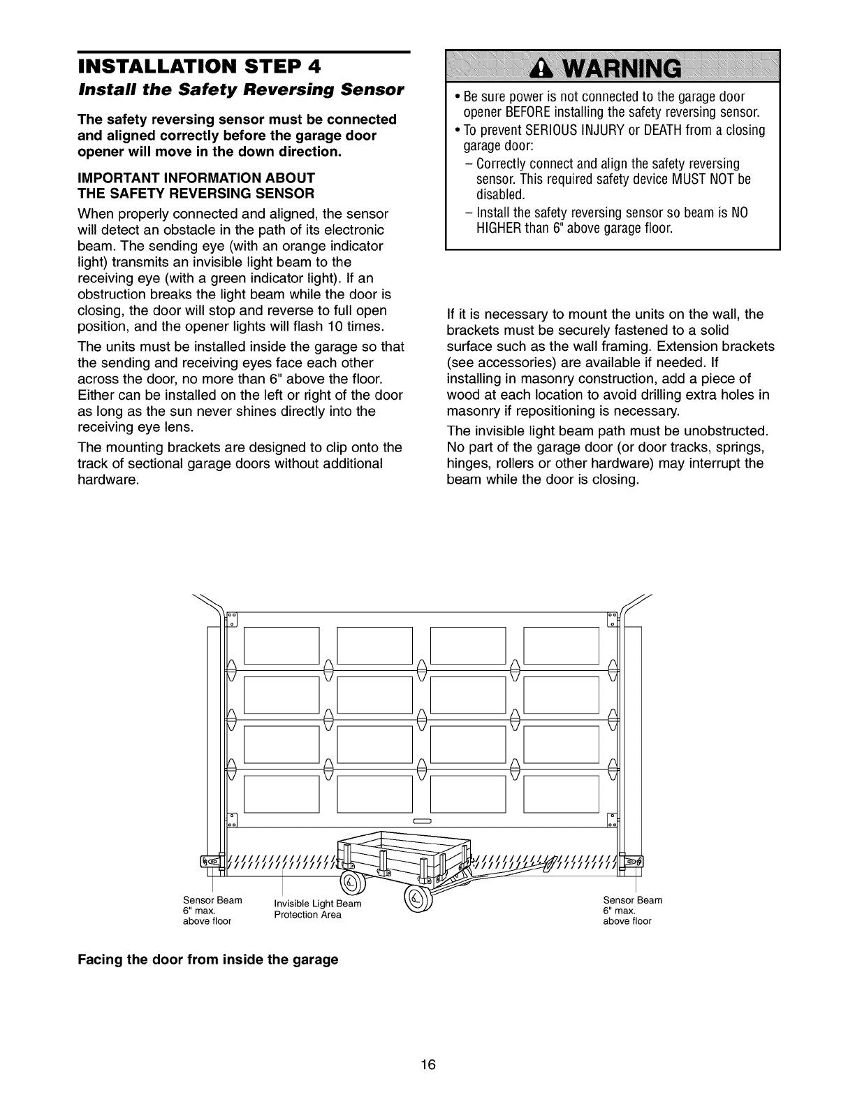 Craftsman 13953991 User Manual Garage Door Opener Manuals And Guides Safety Reversing Sensor Wiring Diagram Installation Step 4 Install The
