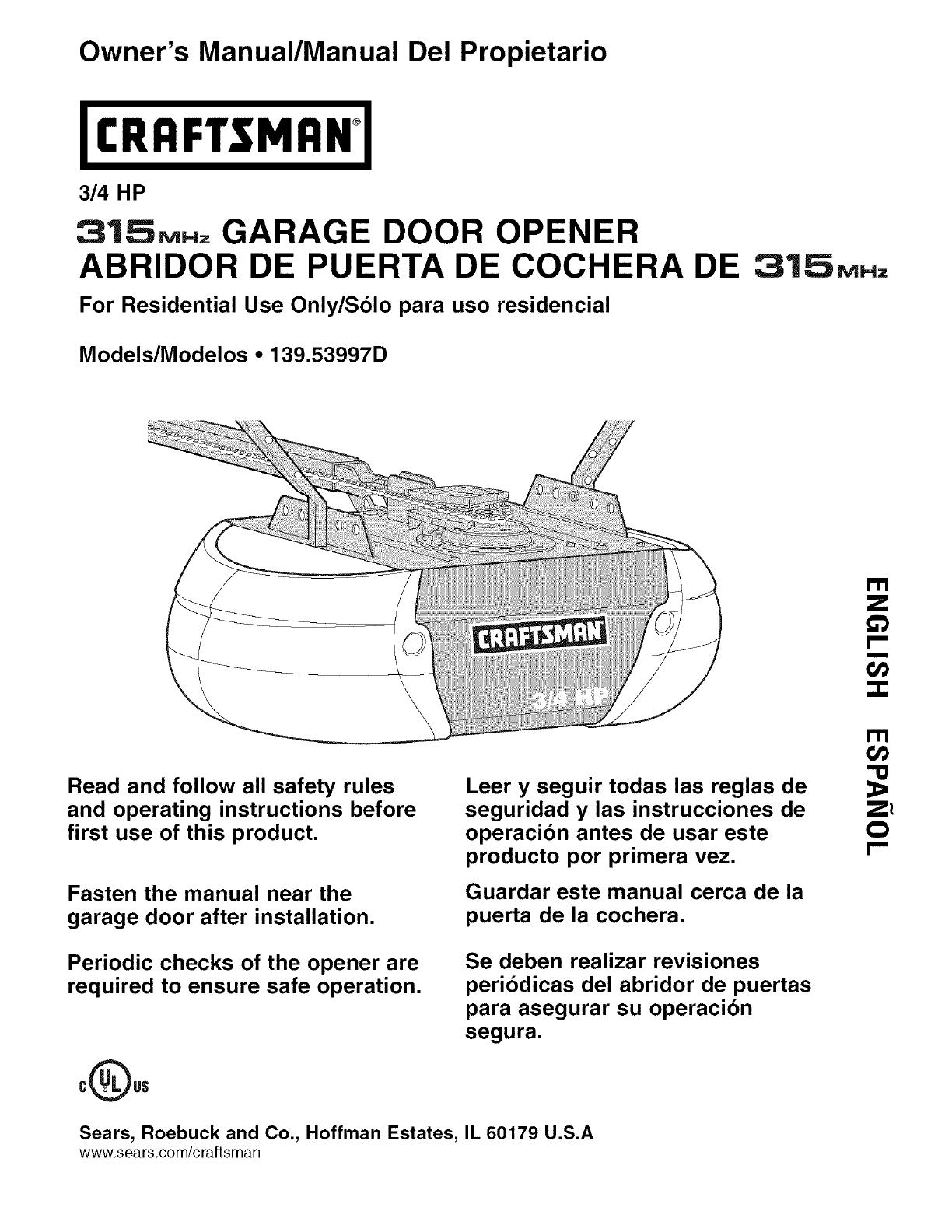 Craftsman 13953997d User Manual Garage Door Opener Manuals And