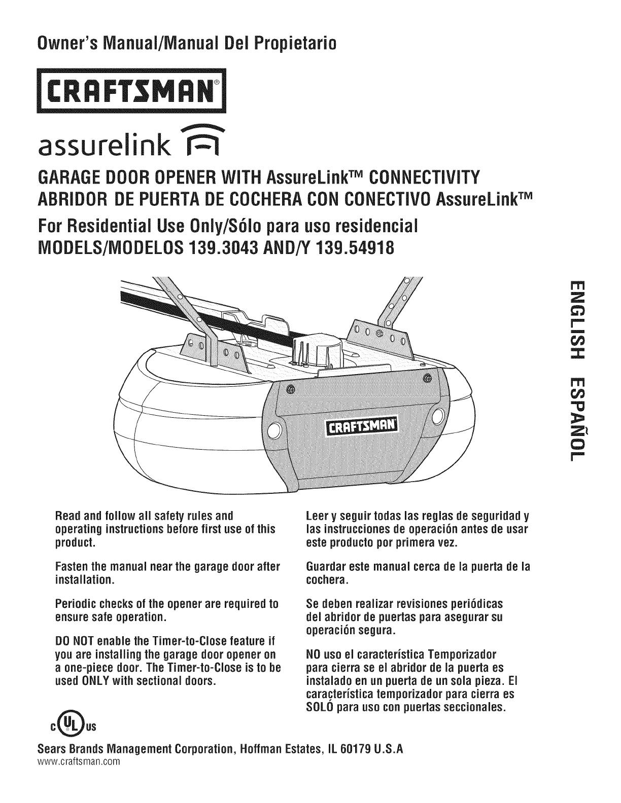 Garage Door Opener Wiring Diagram For 54918 Schematic Diagrams Overhead Craftsman 13954918 1405207l User Manual Manuals Commercial