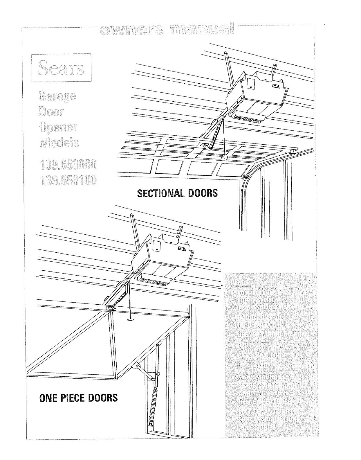 Craftsman 139653000 User Manual Sears Electronic Garage Door Opener