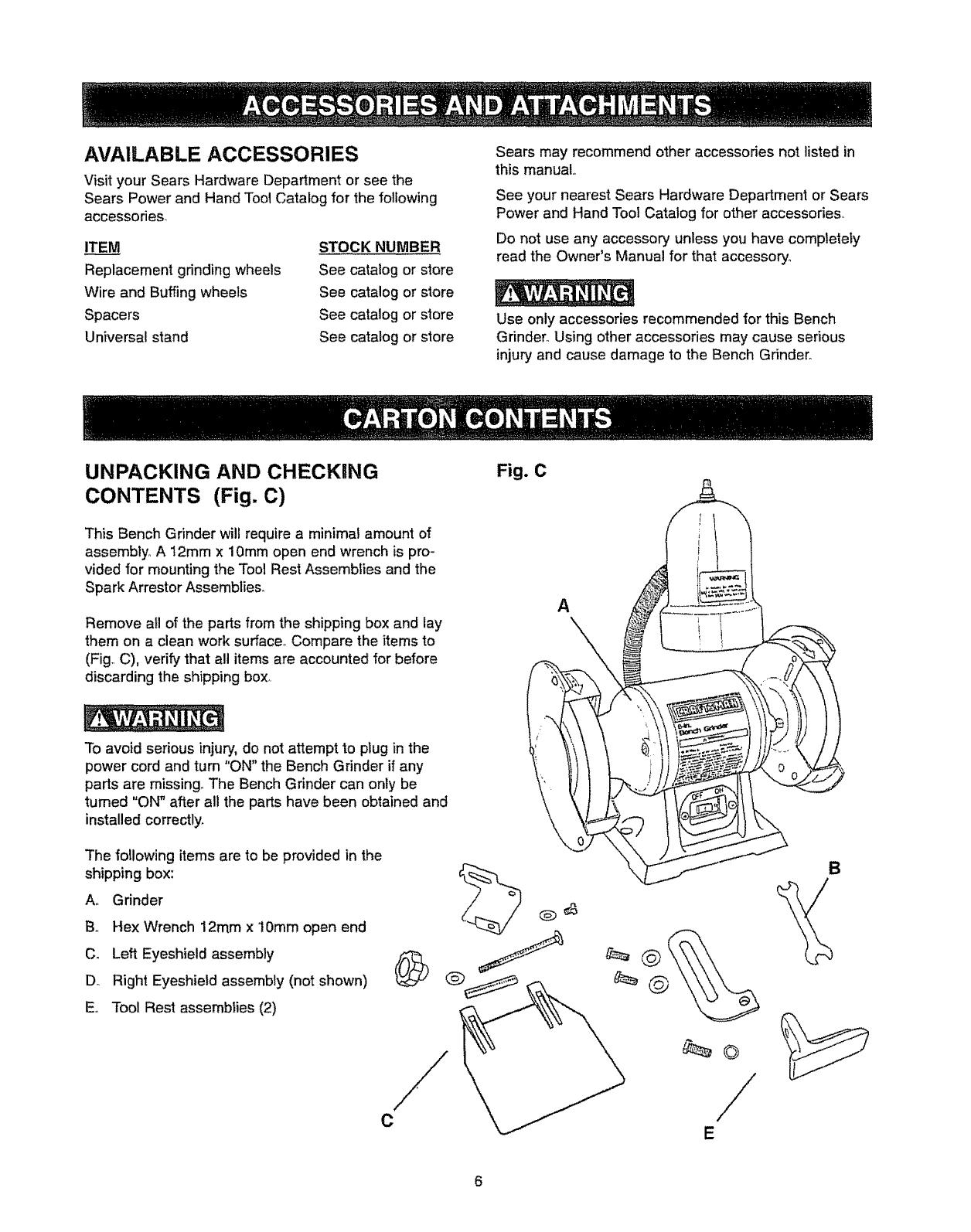 Craftsman Grinder manual