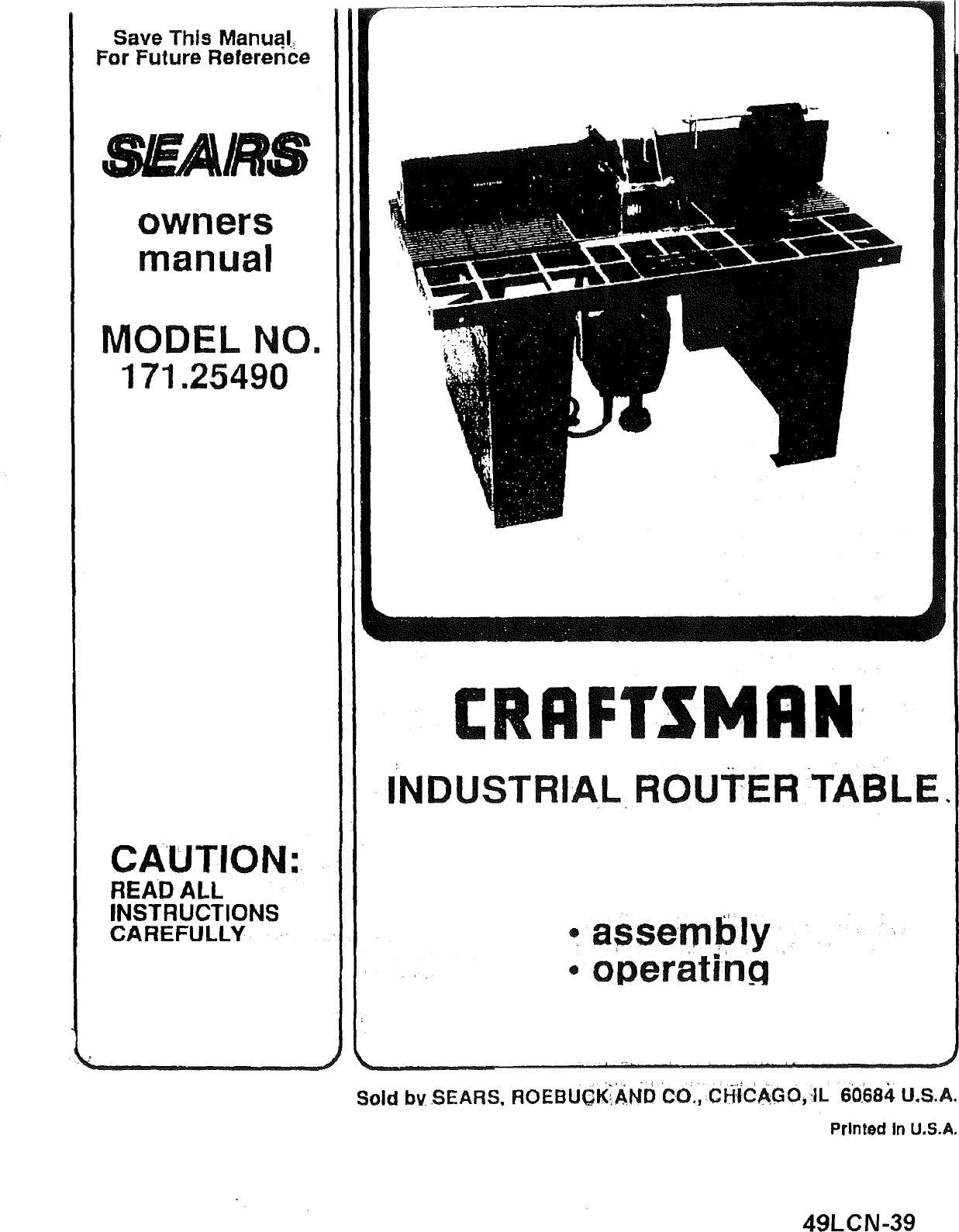 Craftsman 17125490 User Manual Router Table Manuals And