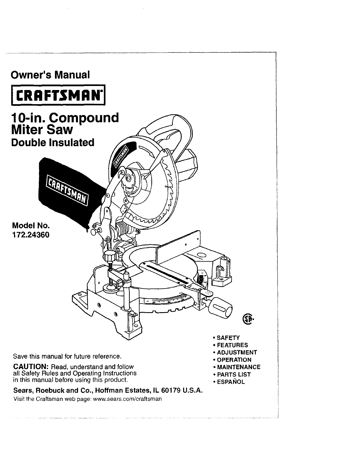 craftsman 17224360 user manual 10 compound miter saw manuals and guides  l0408143  usermanual.wiki