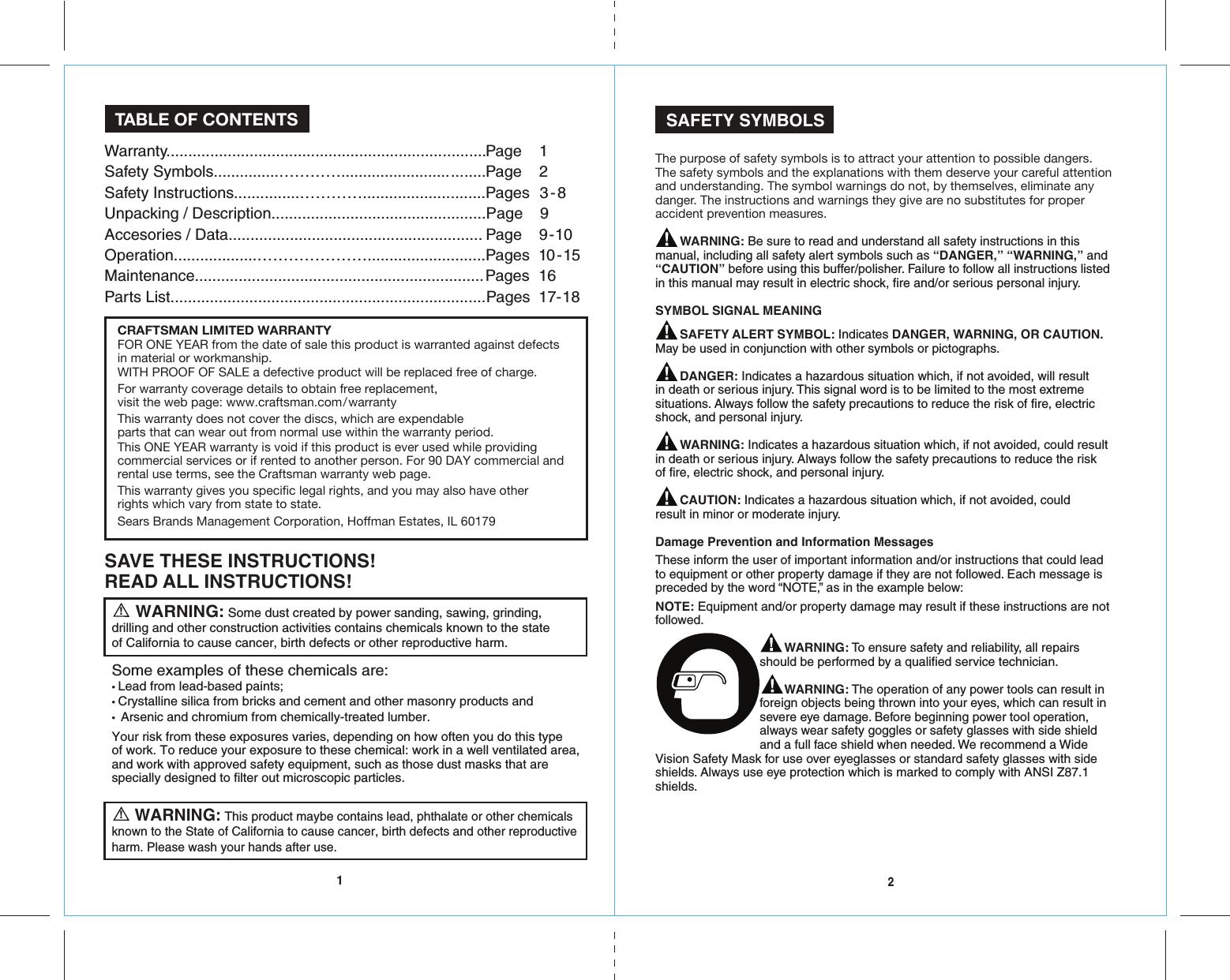 Craftsman 172417750 4177510agrinderengmanualreadersrev 5 31 page 2 of craftsman 172417750 4177510agrinderengmanualreadersrev 5 31 16 user manual grinder angle buycottarizona