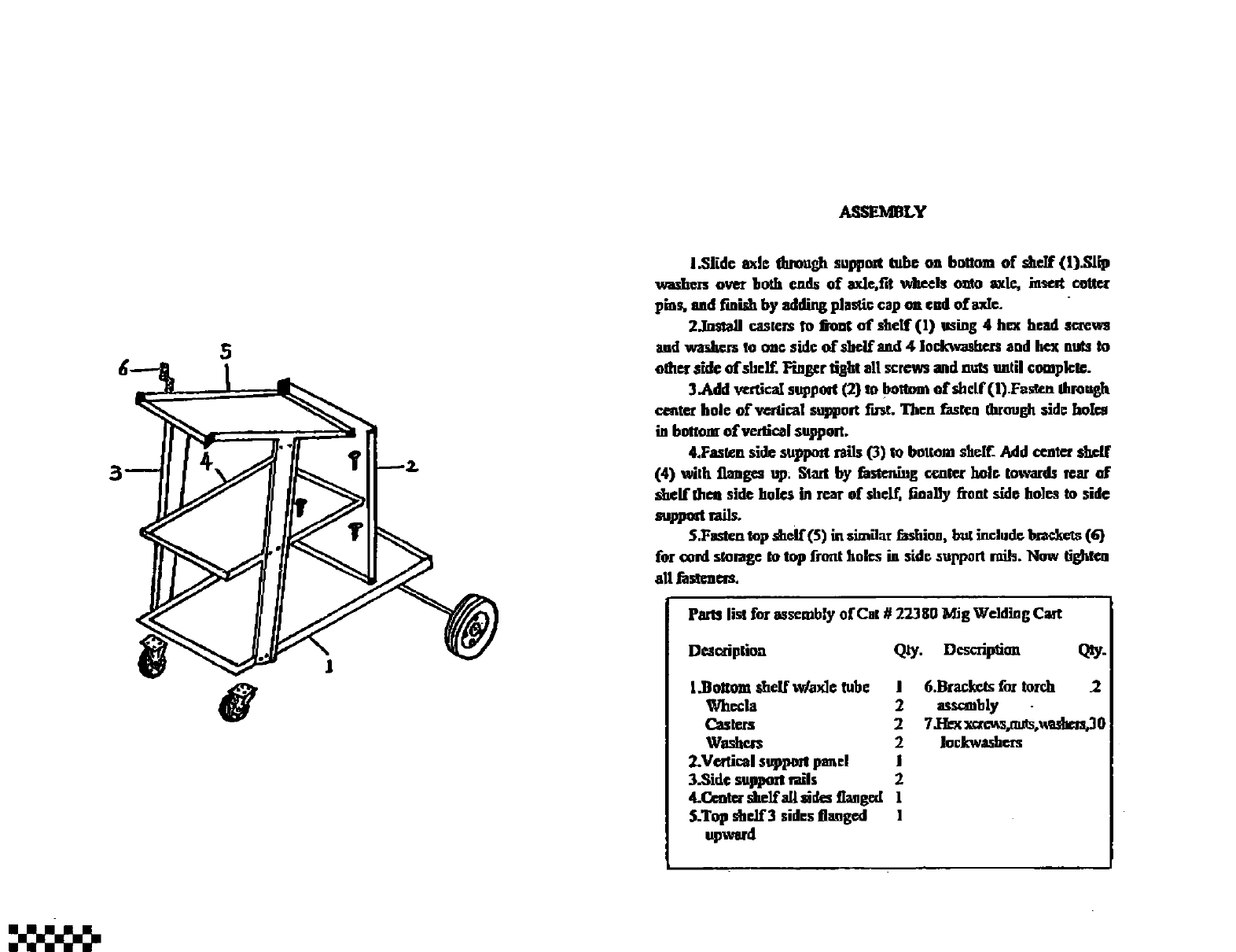 Craftsman 196223800 User Manual Welding Cart Manuals And Guides L0407661 Diagram