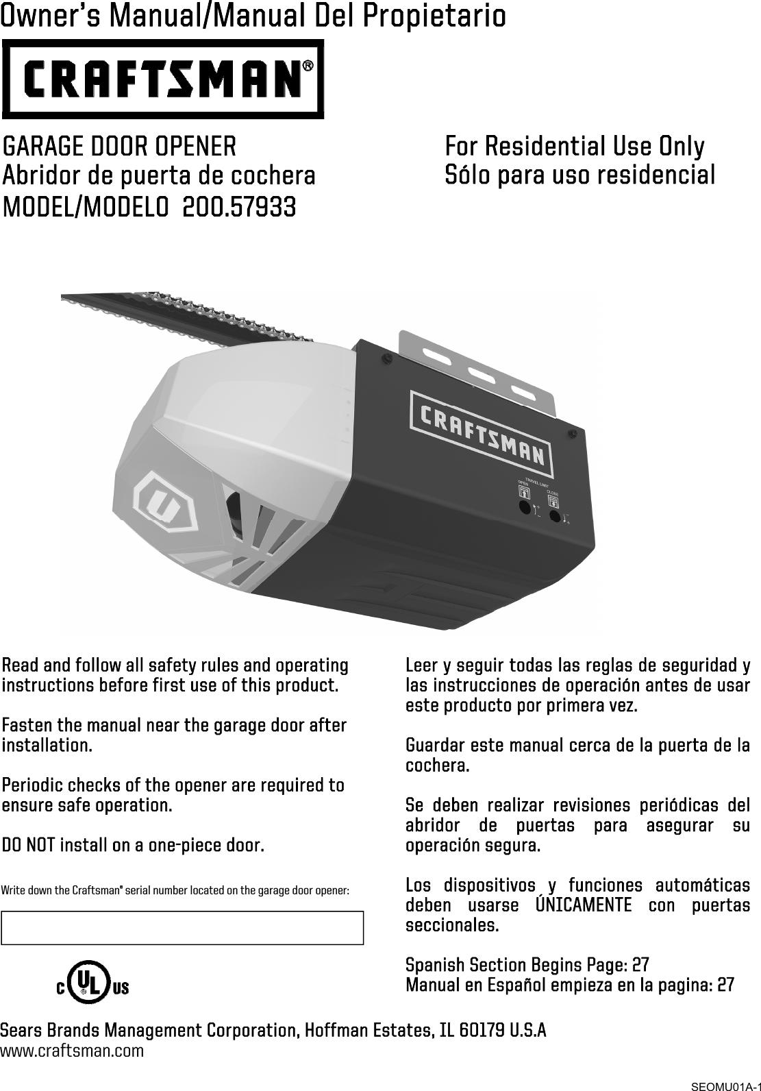 Craftsman 20057933 Sears20170406 User Manual GARAGE DOOR ... on