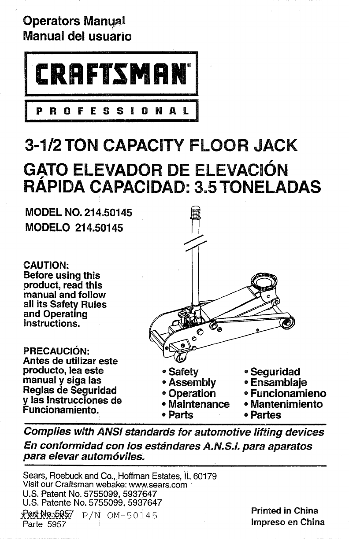 Hydraulic Floor Jack Parts Diagram Manual Guide