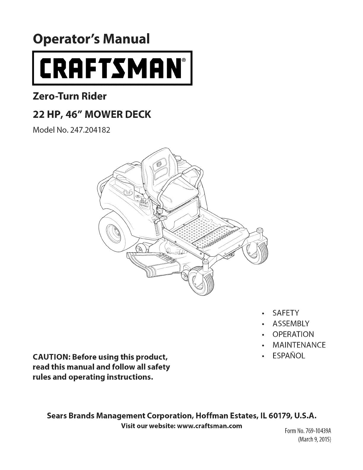 craftsman 247204182 1503507l user manual zero turn riding mower rh usermanual wiki Craftsman 5 22 Snowblower Parts Craftsman 5 22 Snowblower Parts