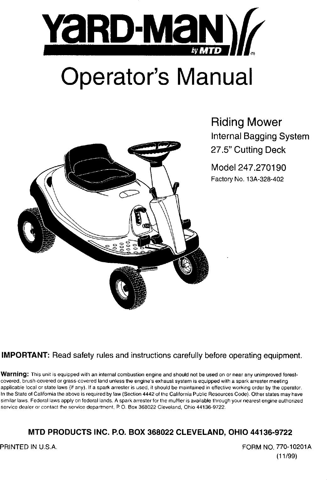 Craftsman Riding Lawn Mower Deck V Manual Guide