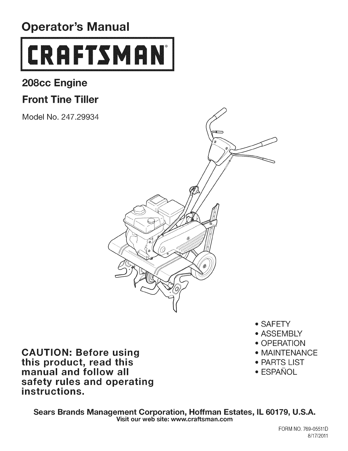Looking For Craftsman Model 107289850 Front Manual Guide