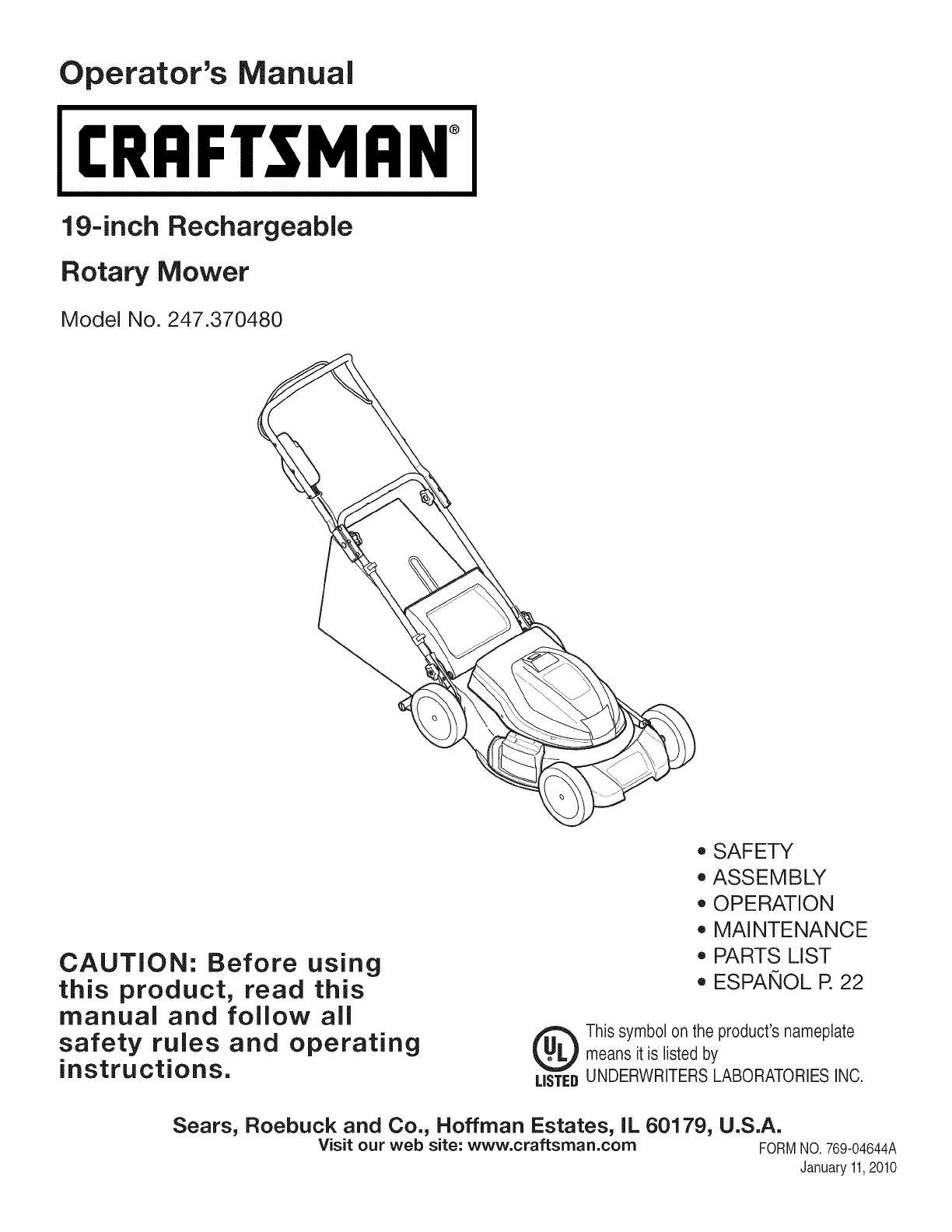 L1001282 Craftsman Rotary Manual And Manuals User Guides 247370480 Mower edxBorC