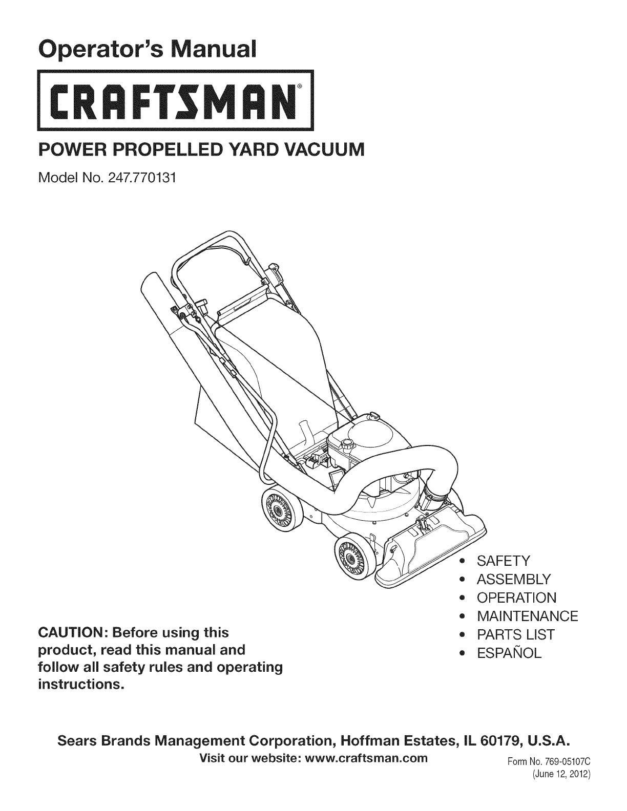 sears yard vacuum manual