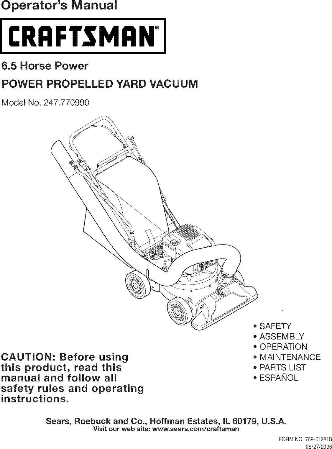 craftsman 247770990 user manual yard vacuum manuals and guides l0712129 rh usermanual wiki Craftsman Blower Vac Model 358 797290 Manual Leaf and Lawn Vacuum Craftsman
