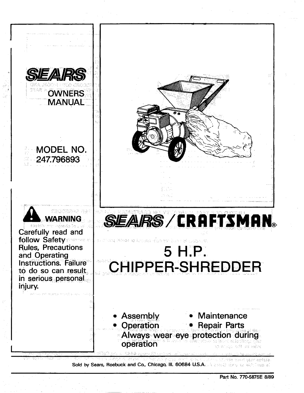 User Manual 5 H P Chipper Shredder