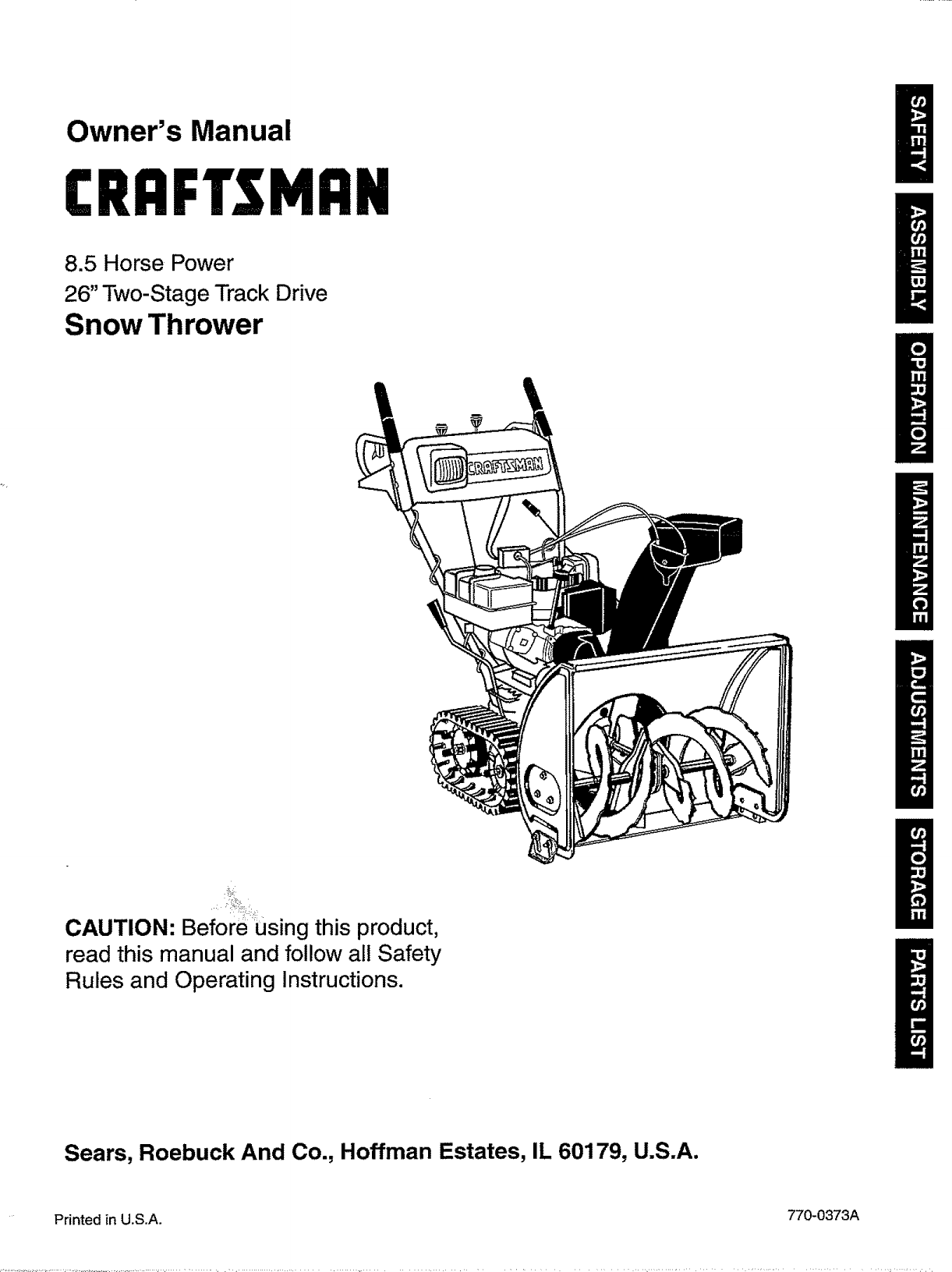 Craftsman 247885500 User Manual Snow Thrower Manuals And Guides L0810513 Tecumseh 37000 Starter Schematic
