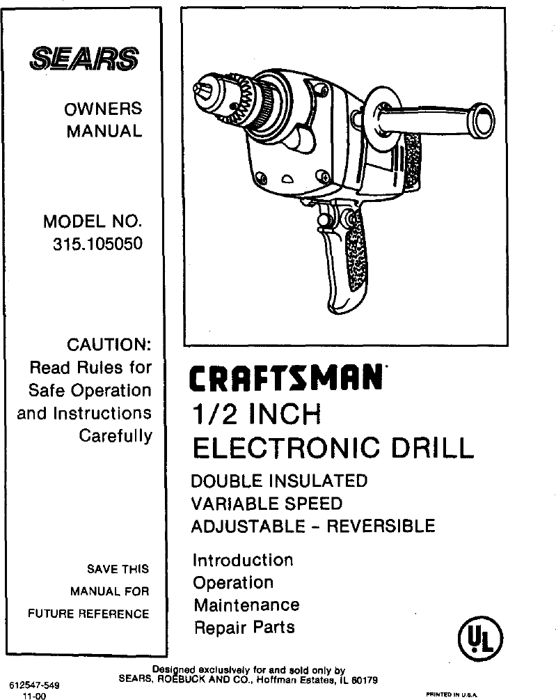 Craftsman 315105050 User Manual 1/2 ELECTRONIC DRILL Manuals And ...