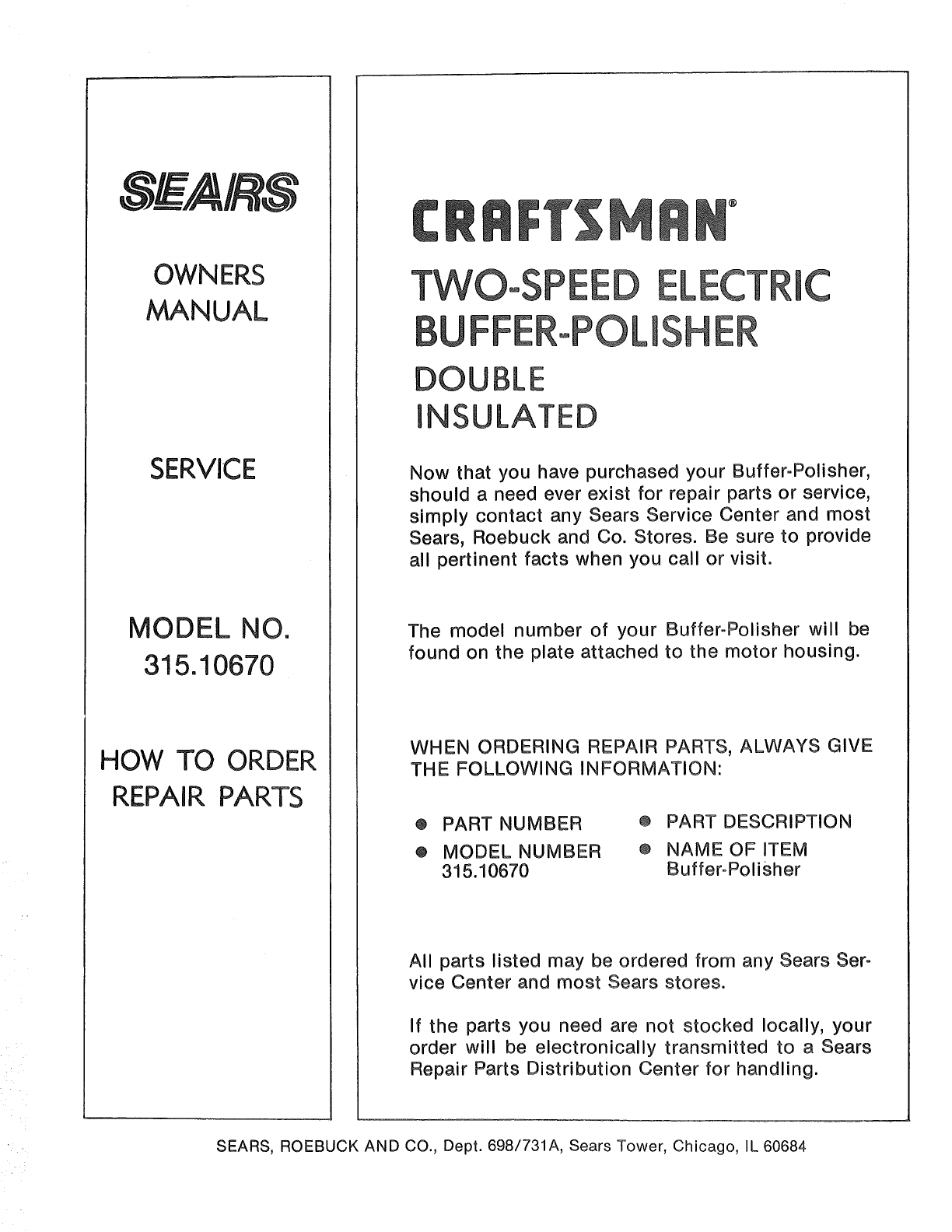 Craftsman 31510670 User Manual Buffer Polisher Manuals And Guides Chicago 7 Wire Diagram Owners