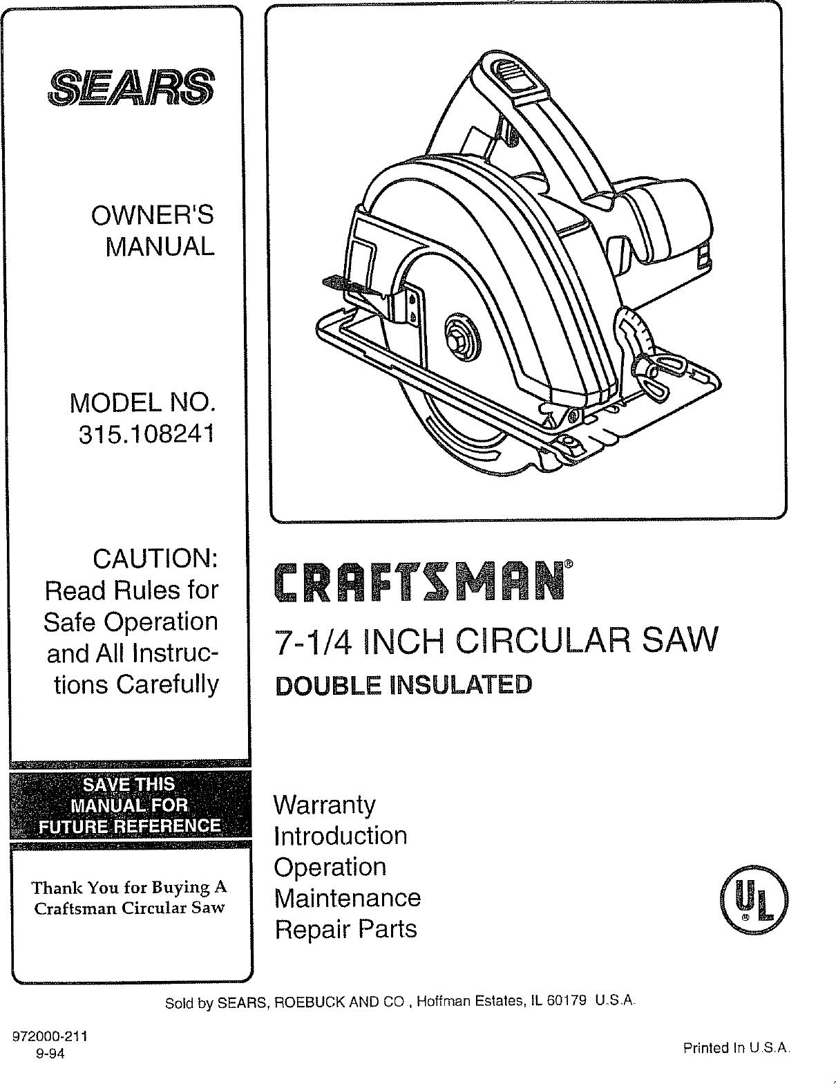 craftsman 315108241 user manual circular saw manuals and guides l0807084 rh usermanual wiki craftsman 19.2 circular saw manual craftsman circular saw manual pdf