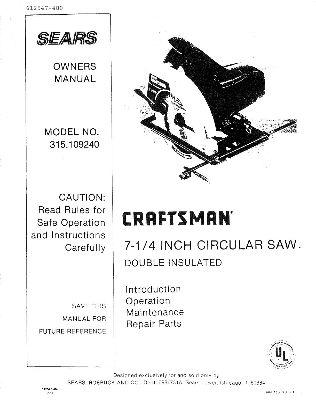 Skil 7 4 In Circular Saw Manual Guide