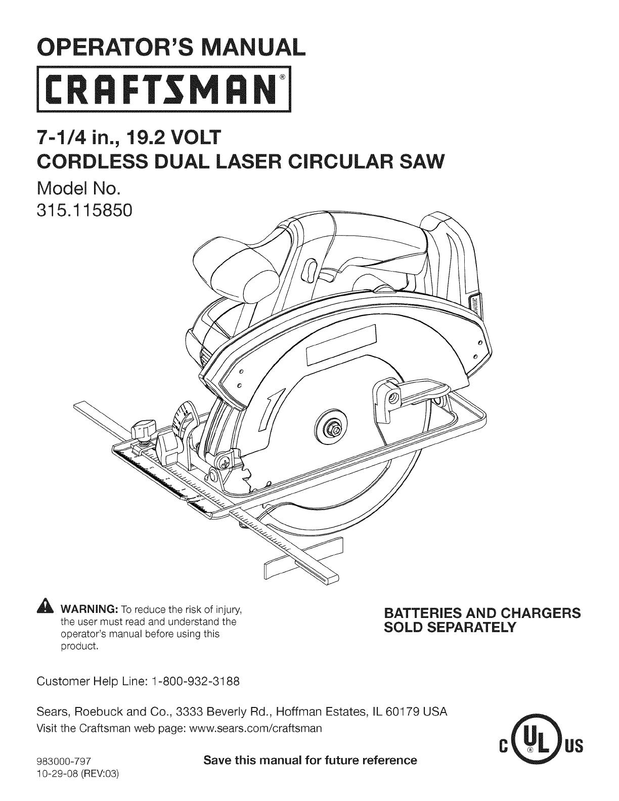 Craftsman 315115850 User Manual CIRCULAR SAW Manuals And Guides L0905109UserManual.wiki