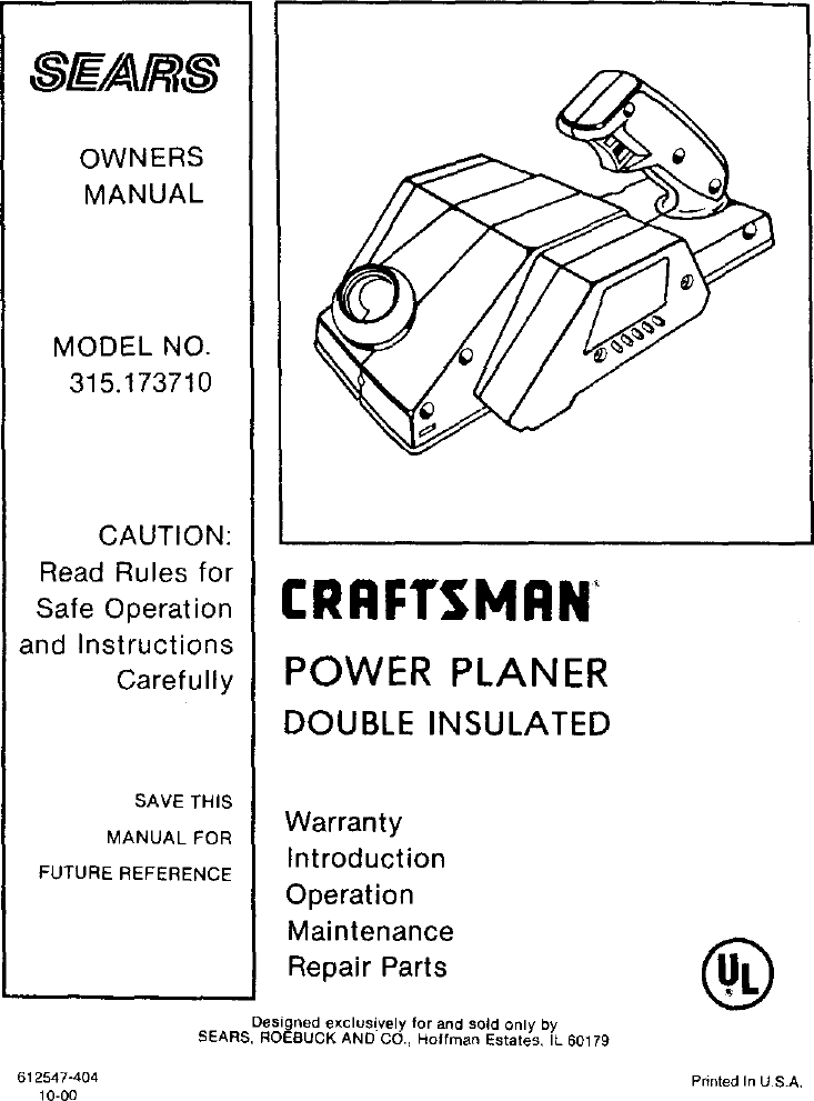 Craftsman 315173710 User Manual POWER PLANER Manuals And Guides ...