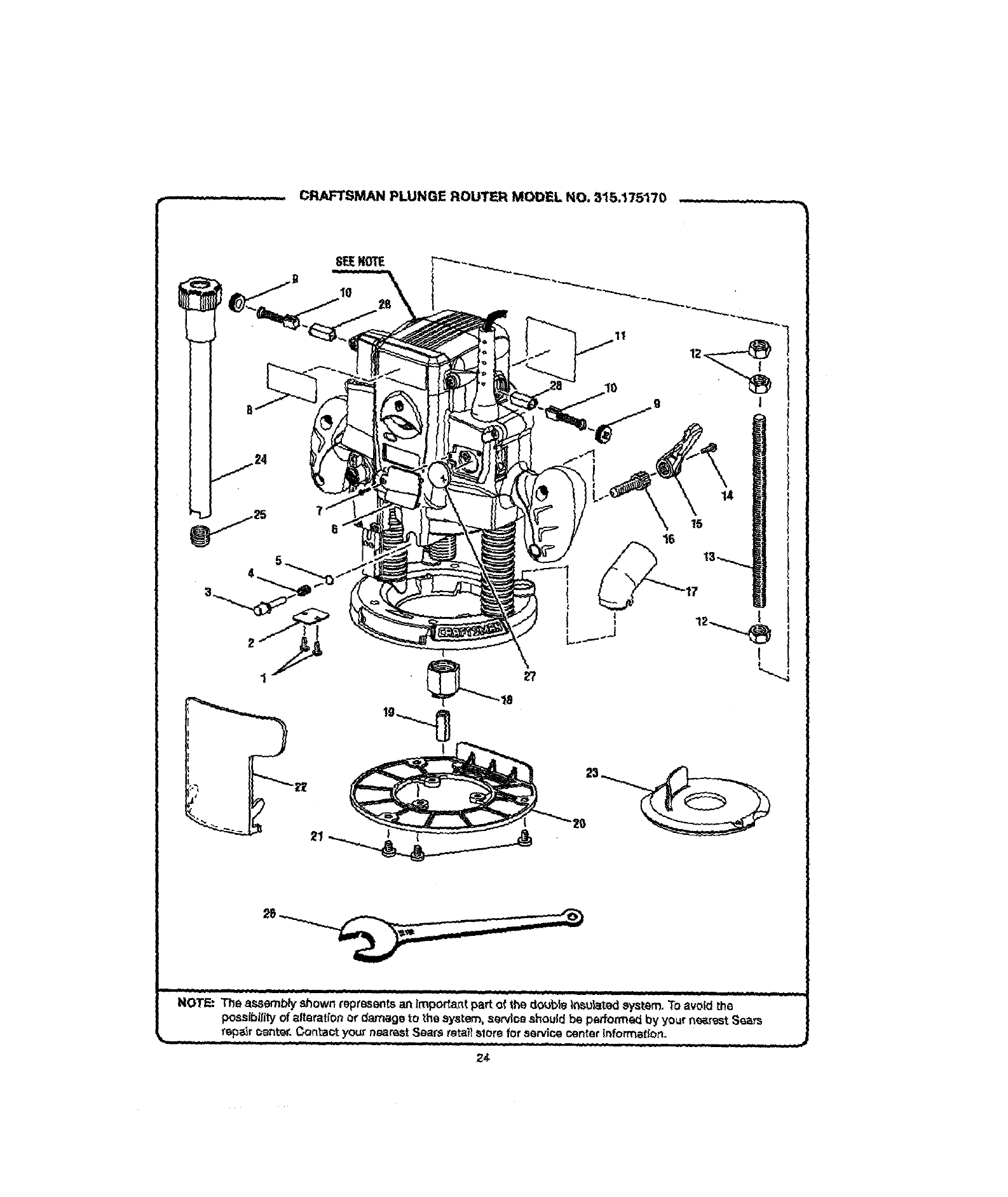 Craftsman 315175170 User Manual Router Manuals And Guides L0609412 Wiring Diagram For Plunge Model No 15175 70