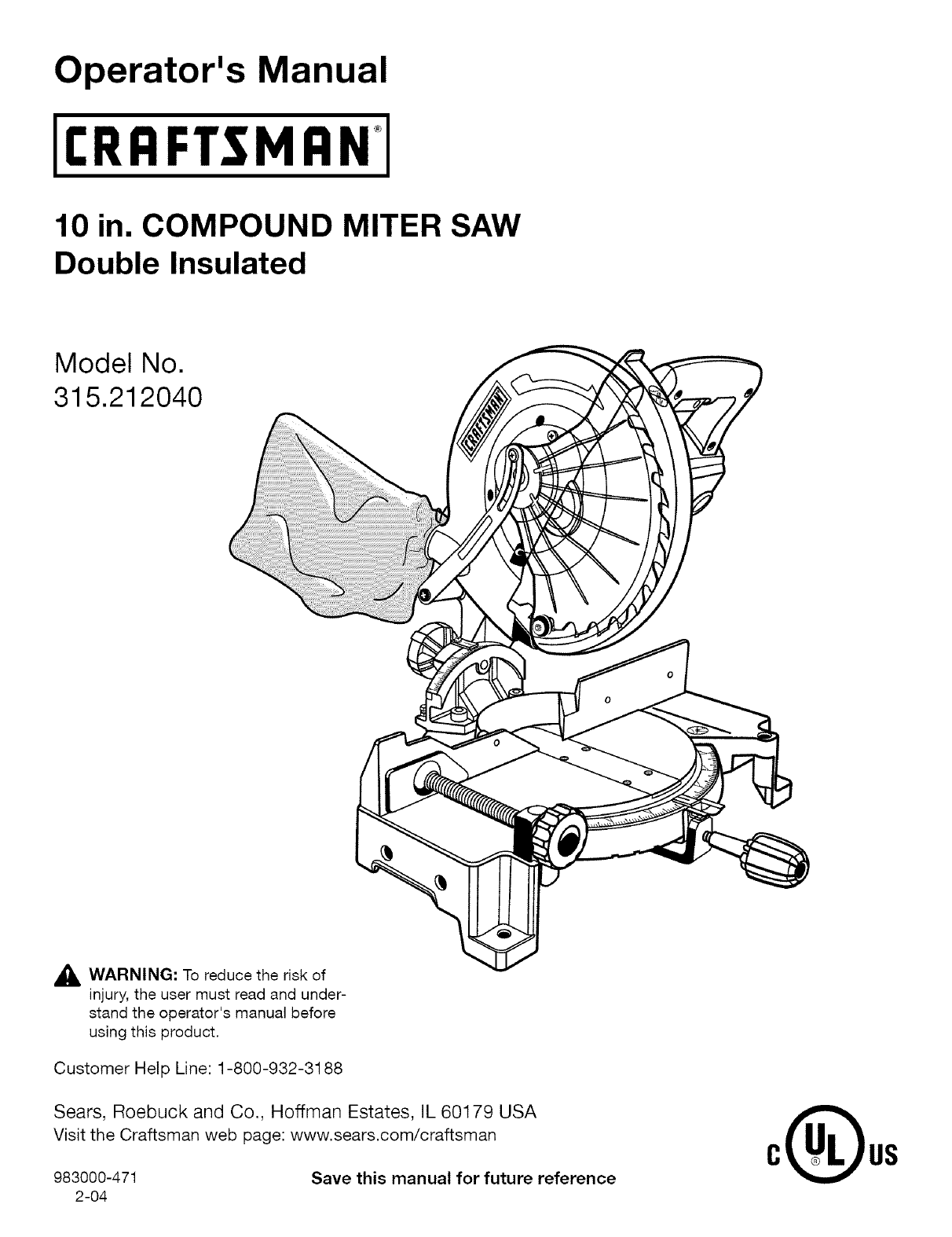craftsman 315212040 user manual 10 compound miter saw manuals and guides  l0410517