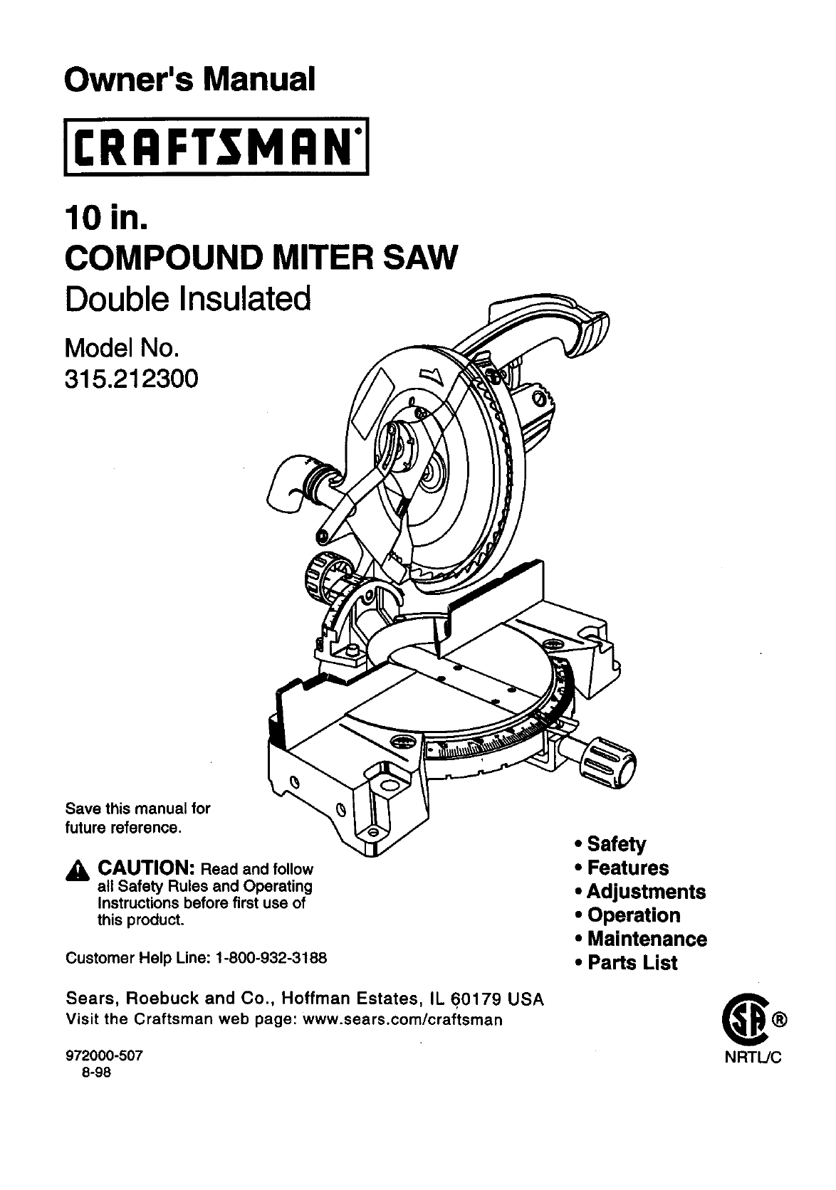 craftsman 315212300 user manual compound miter saw manuals and guides  99030706  usermanual.wiki