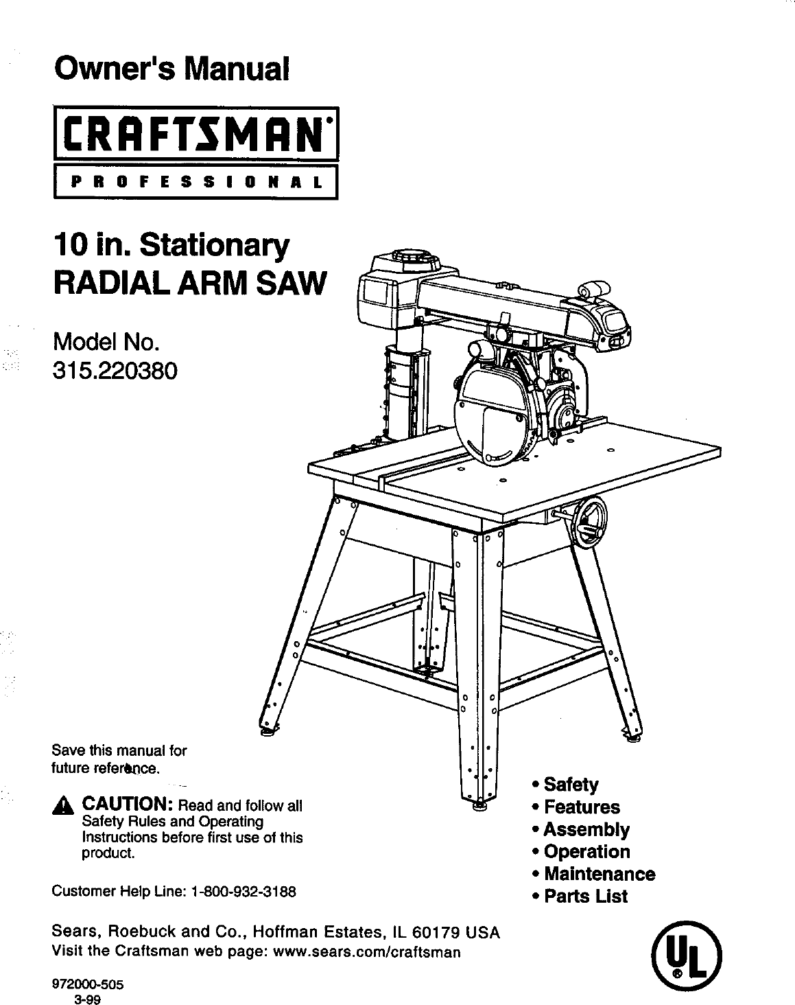 Craftsman 315220380 User Manual 10 In  Stationary Radial