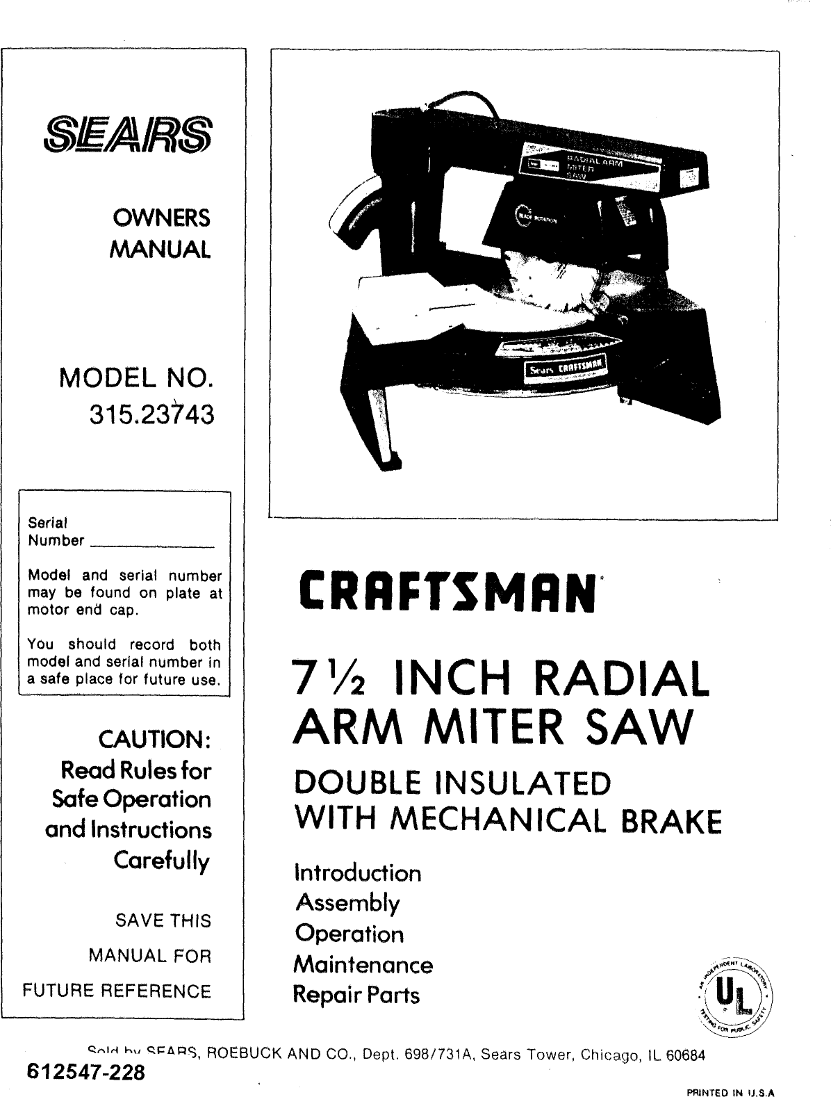 Craftsman 31523743 User Manual Radial Arm Miter Saw