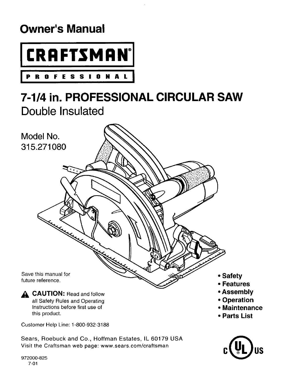 Craftsman 315271080 User Manual CIRCULAR SAW Manuals And Guides L0202284UserManual.wiki
