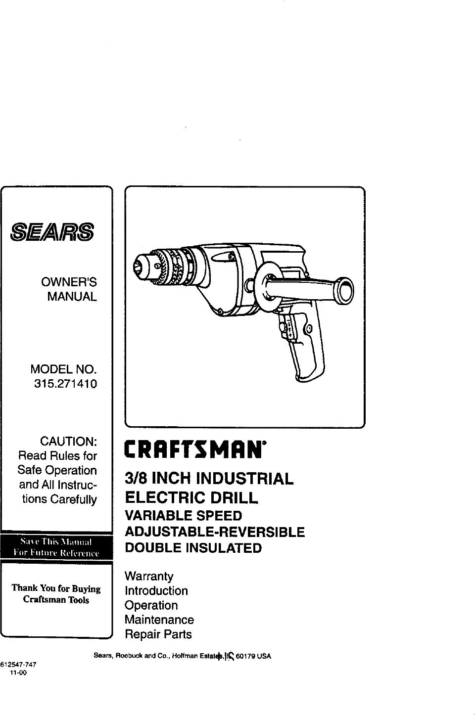 Craftsman 315271410 User Manual 3/8 ELECTRIC DRILL Manuals