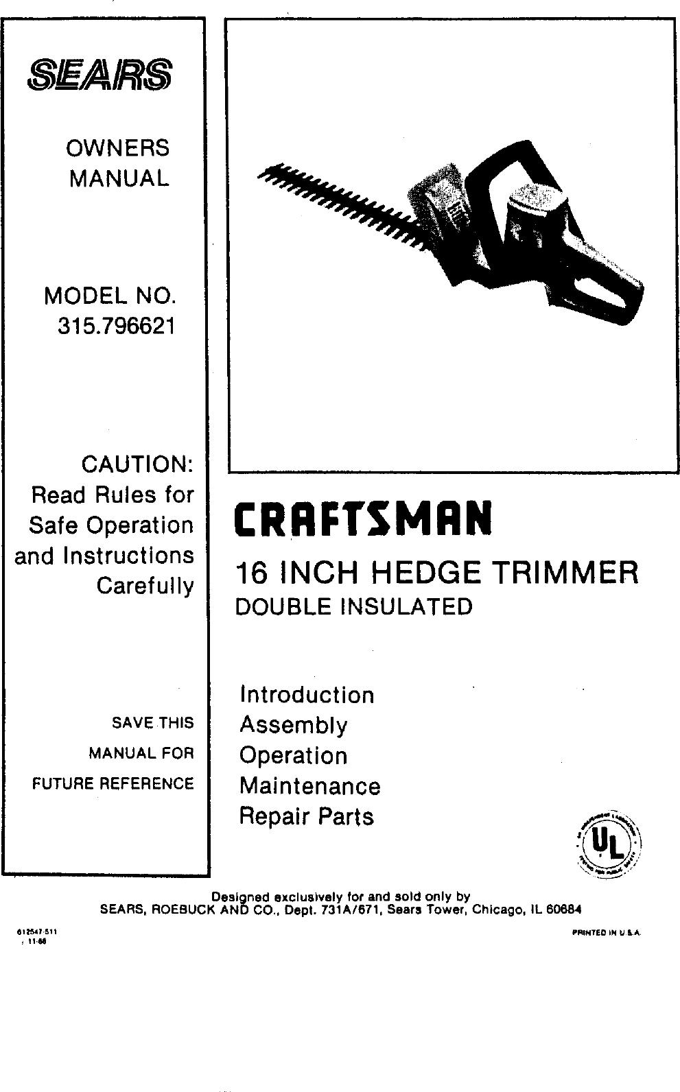 craftsman trimmer repair manual