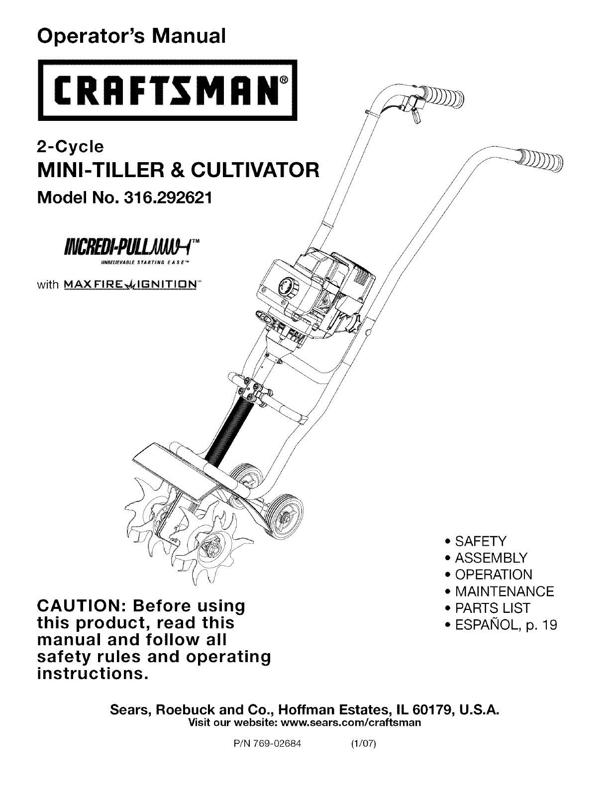 Craftsman 316292621 User Manual Mini Tiller  Cultivator