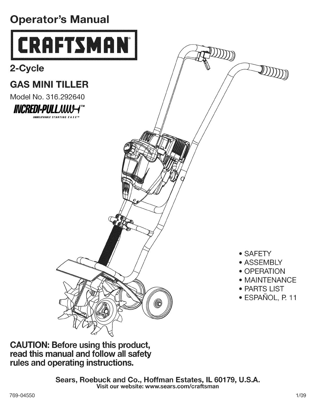 Craftsman 7800 Pro Series Manual