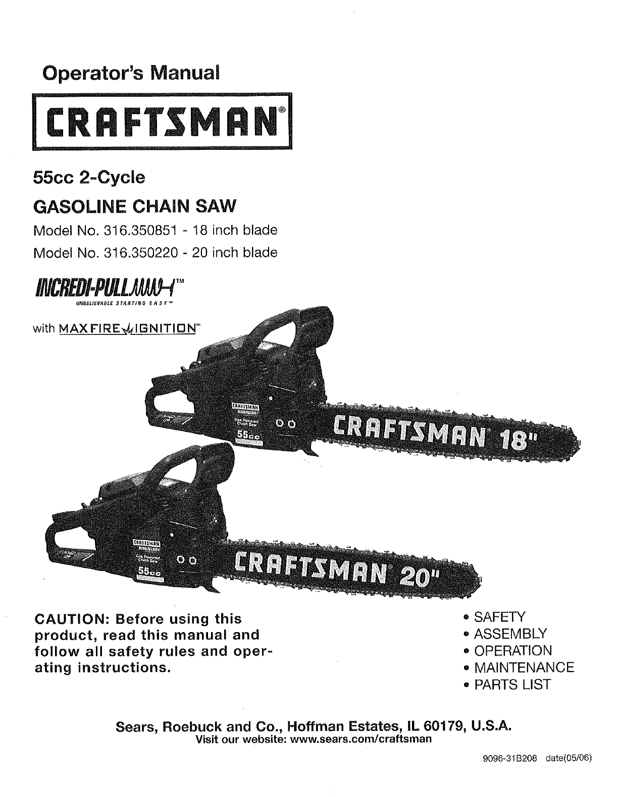 Craftsman 316350220 User Manual Chain Saw Manuals And