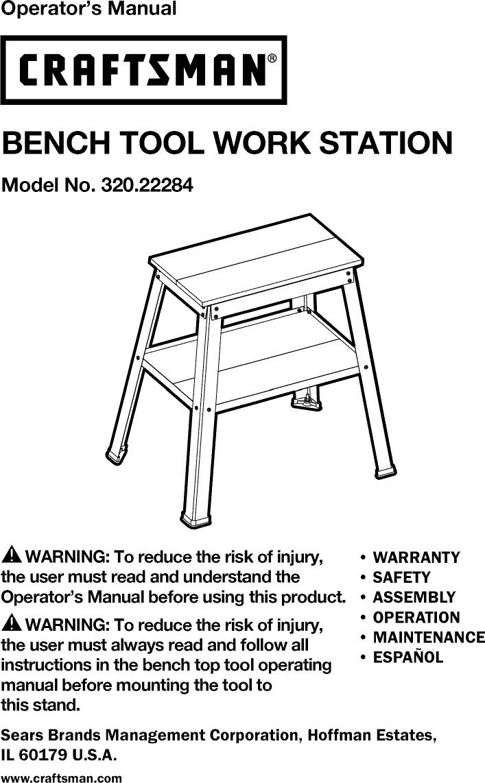 Craftsman 32022284 1301065l User Manual Bench Tool Work