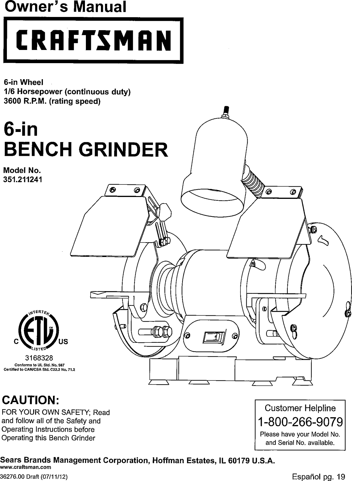 Prime Craftsman 351211241 User Manual Grinder Bench Manuals And Alphanode Cool Chair Designs And Ideas Alphanodeonline