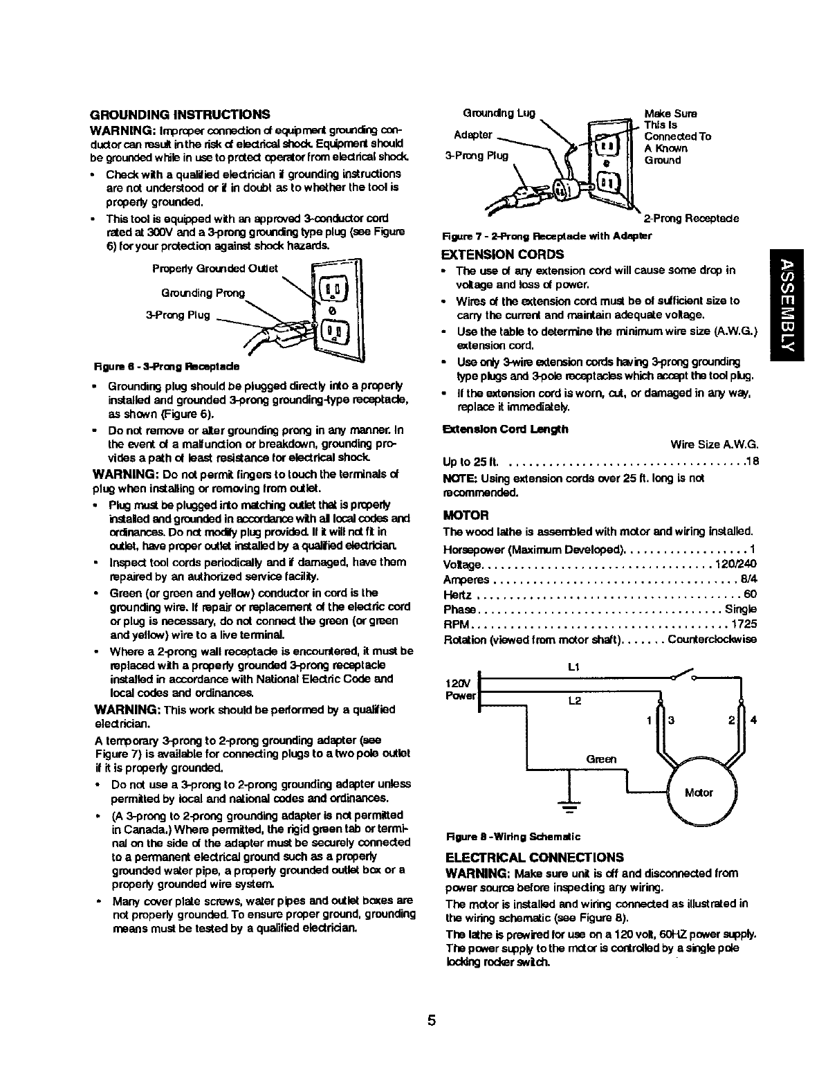 Craftsman 351217120 User Manual Wood Lathe Manuals And Guides L0212040 White Green Black 3 Prong Plug Wiring Diagram Grounding Instructions