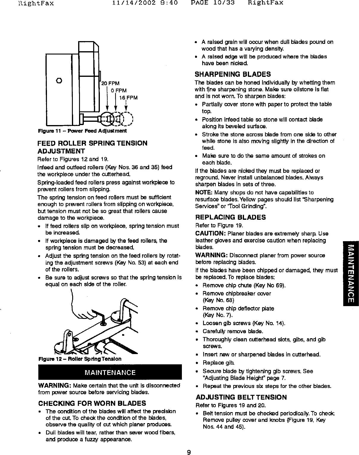 Craftsman 351226151 User Manual PLANER Manuals And Guides L0606319