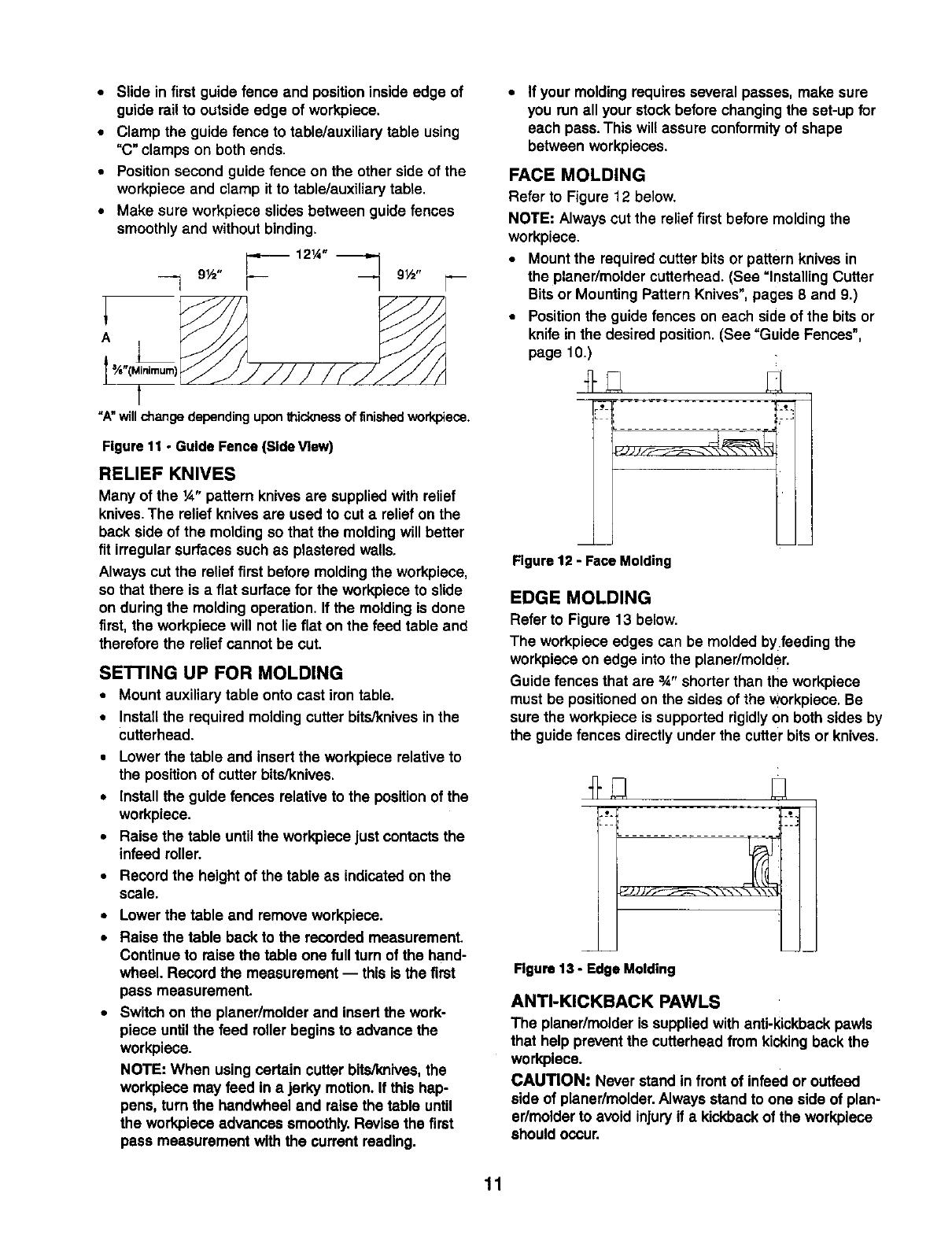 Craftsman 351233831 User Manual 12 1/2 PLANER / MOLDER
