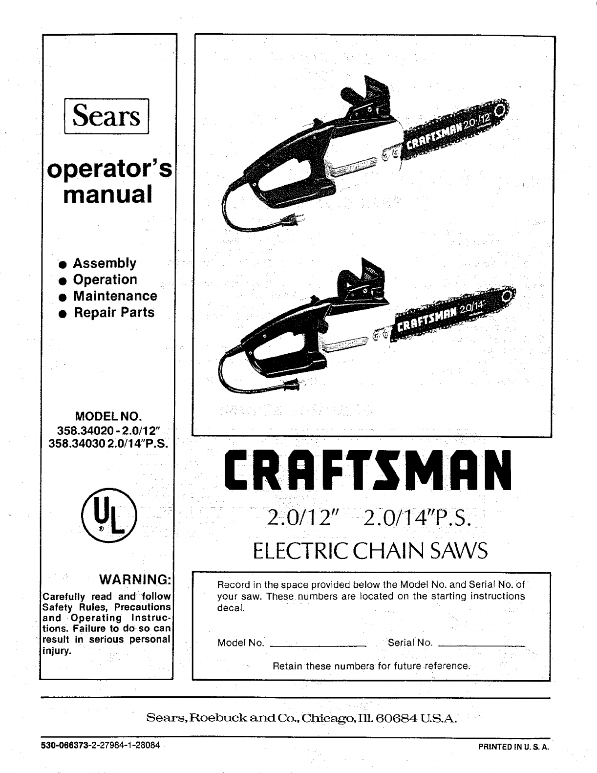 Craftsman 35834020 user manual electric chain saws manuals and craftsman 35834020 user manual electric chain saws manuals and guides l0902472 greentooth Images