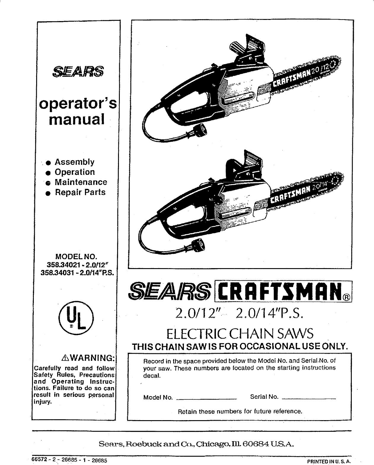 Craftsman 35834021 User Manual ELECTRIC CHAIN SAWS Manuals