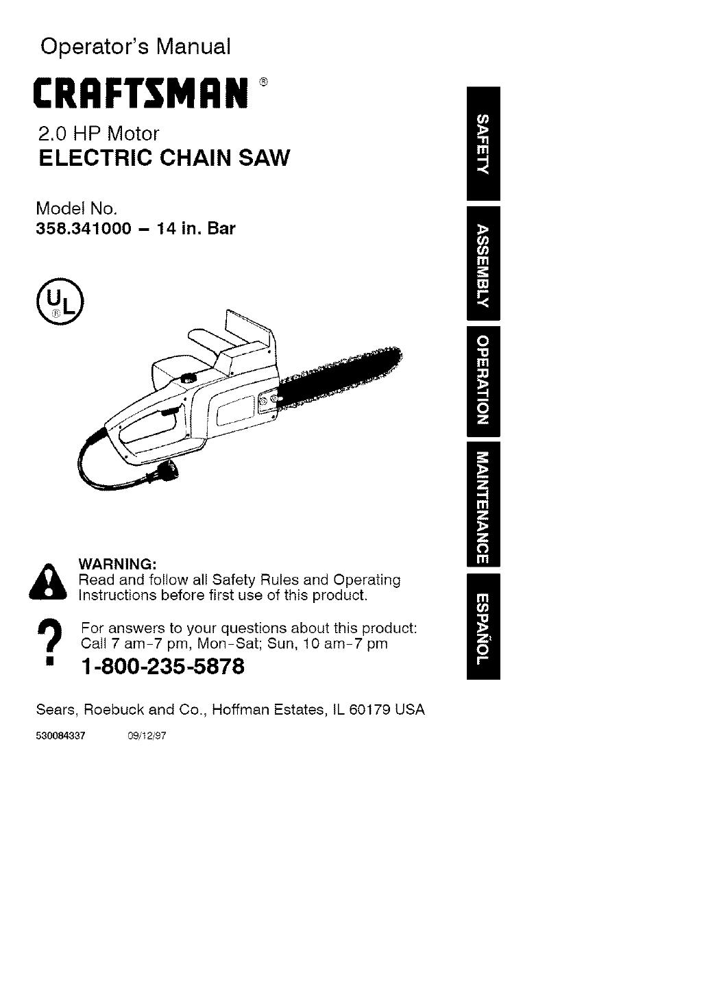 Craftsman Chainsaw Wiring Diagram Electrical Diagrams Of Owners Manual 358 350440 Open Source User U2022 Carburetor Model