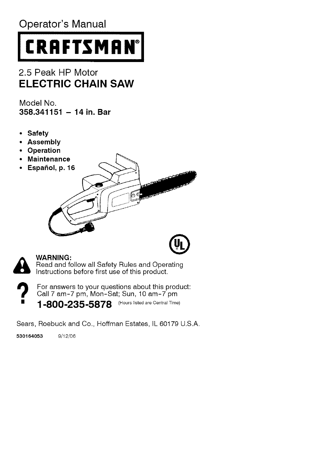 Craftsman 358341151 user manual chain saw manuals and guides l0609398 greentooth Images