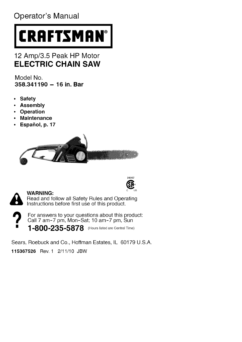 craftsman 358341190 user manual electric chain saw manuals and rh usermanual wiki Earthwise 14 Electric Chain Saw Craftsman 20 Chainsaw Manual